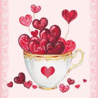 Papierowe Serwetki Cup Of Hearts