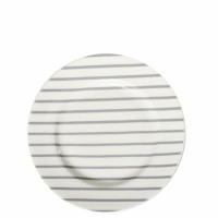 Talerzyk Dessert White/Grey Stripes Bastion Collections