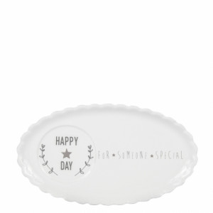 Talerzyk do kawy/Cafe Plate White/Happy Day in Grey Bastion Collections