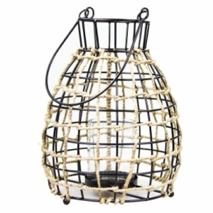 Lampion Black With Jute Bastion Collections BEZ SZKLANEGO WKŁADU!