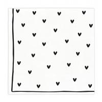 Papierowe Serwetki Hearts Black Bastion Collections