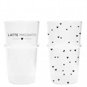 Szklanka Do Latte Hearts Black NEW Bastion Collections