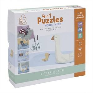 Puzzle 4 Rodzaje Zwierzątek Little Dutch