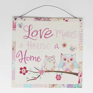 Metalowa Tabliczka Love Makes a House a Home