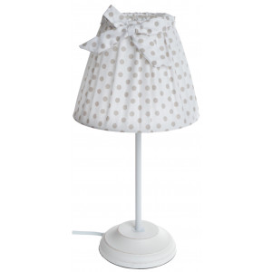 Lampka z Białym Abażurem w Groszki
