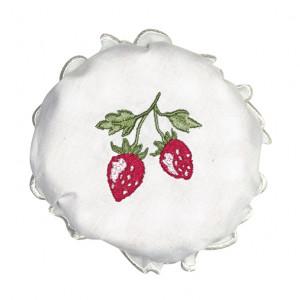 Bawełniana Przykrywka Na Zakrętkę Słoika Strawberry White Green Gate
