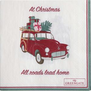 Papierowe Serwetki Christmas Car White Green Gate