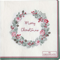 Papierowe Serwetki Merry Christmas White S Green Gate