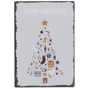 Metalowa Tabliczka Merry Christmas w/Christmas Tree Ib Laursen
