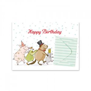 Pocztówka Animal Parade With Envelope