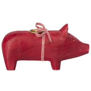 Świecznik Świnka Drewniana Czerwona Średnia Maileg